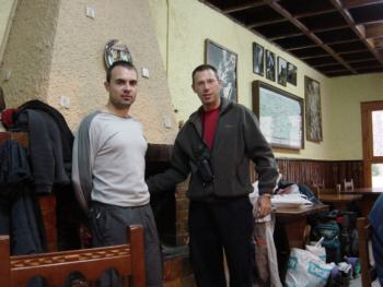 David y Carlos en el restaurante de la Pradera de Ordesa